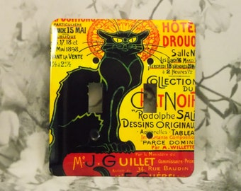 Metal Chat Noir Double Light Switch Cover - Black Cat Switch Plate - 2T Double Toggle