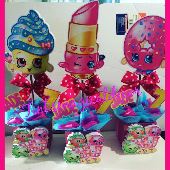 6 Shopkins birthday centerpieces