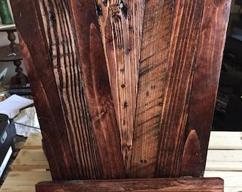 Pallet wood ipad or cookbook holder