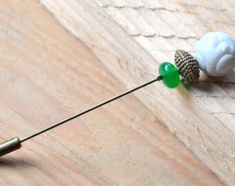 Jade stone pin brooch