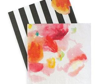 Floral Escape Dinner Napkins (Set of 20) with Bold Black Stripes