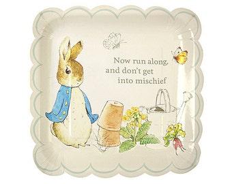 "Peter Rabbit Large Paper Plates (Set of 12) - 10x10"" - Meri Meri Beatrix Potter Party Plates (Licensed)"
