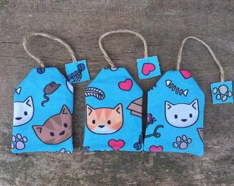 Blue catnip tea-bag toy