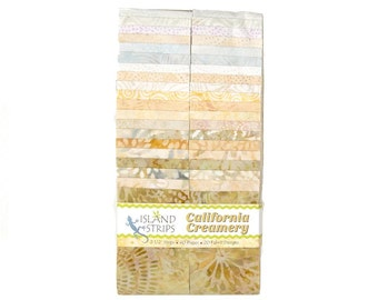 "Island Batik California Creamery Cream Batiks Jelly Roll Strips Pack 40 2.5"" Strips Cream Fabric"