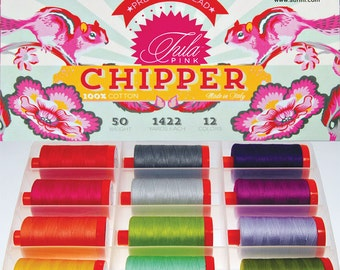 AURIFIL Set of 12 MAKO 50 Wt Tula Pink CHIPPER Collection Quilting Thread