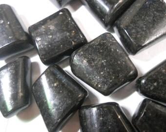 Tumbled nuummite, Greenland nuummite, sorcerers stone, root chakra, wicca, pagan, reiki, crystal grid, altar stone, healing crystal