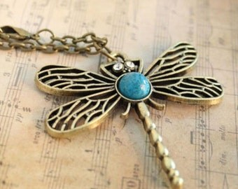 Fashion Dragonfly Necklace, Turquoise Dragonfly Necklace, Dragonfly Jewelry...FREE SHIPPING!!!
