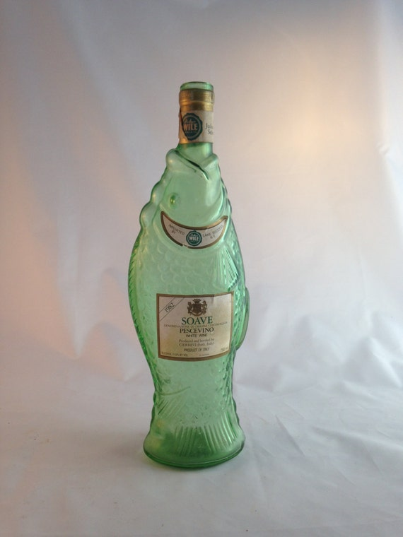 Items similar to vintage fish bottle soave pescevino green for Fish wine bottle