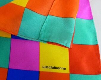 LIZ CLAIBORNE Color Block Silk Scarf, Pin, Red, Purple, Orange, Rolled Finished Edges, 31 x 31 Size