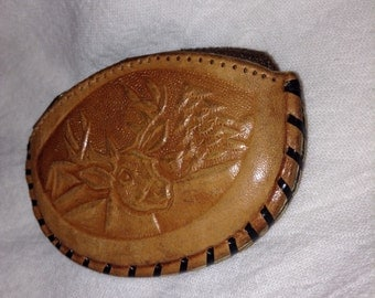 Vintage Hand Tooled Leather Coin Pouch
