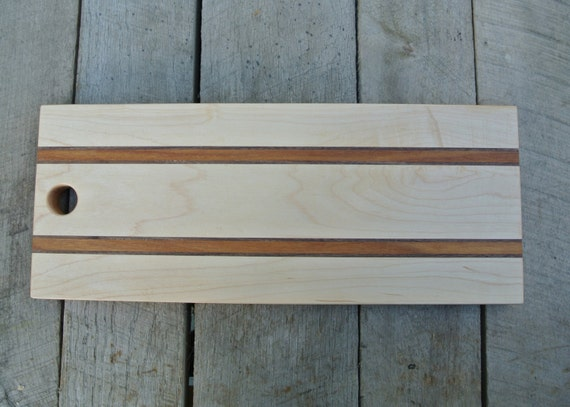 Maple Bread Board/ Serving Board with Canarywood and Walnut Stripes