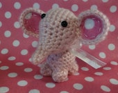 Crochet Tiny  Pink Elephant with White Ribbon Inexpensive Baby Shower Gift Birthday Present Small Stuffed Animal Free Shipping