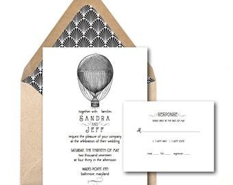 Vintage Hot Air Balloon Wedding Invitations // Carnival Wedding Invitations // Rustic Wedding // Whimsical Wedding Invitations