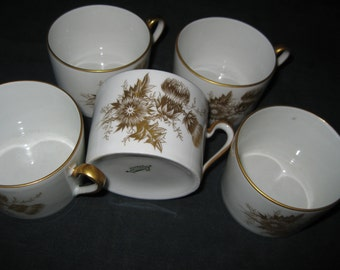 50% Off 5 Limoges Cups Gold Floral
