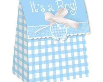 72 Blue Gingham It's A Boy! Baby Shower Small Favor Bags with Ribbons  ~ Great Value!