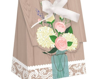 72 Rose & Hydrangea Rustic Wedding or Shower Small Favor Bags with Ribbons  ~ Great Value!