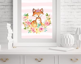 "Fox Wall Art Print/ Woodland Nursery Print 8""x10"""