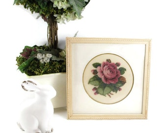 Vintage Rose Petit Point Framed Picture, 1940's Decor, Shabby Chic Needlepoint Collectible