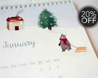 Sweet 2016 illustrated bears desk calendar A5 for kids room