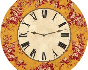 Floral Toile Mustard Clock