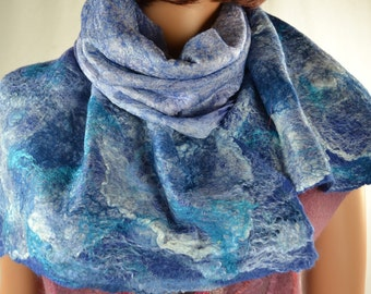 Nuno  Felted Scarf  cobweb nuno white Wool Silk Art gift for woman