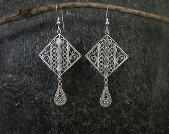 Filigree silver earrings,Jewelry,Silver Earrings , Israel jewelry,Yemenite jewelry,silver drop earrings