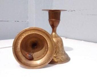 SALE, Candle Stick Holder, Brass, Bell, Candle Holder, Wedding Decor, Vintage