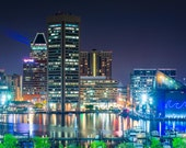 View of the Inner Harbor at night from Federal Hill Park, in Baltimore, Maryland. | Photo Print, Stretched Canvas, or Metal Print.