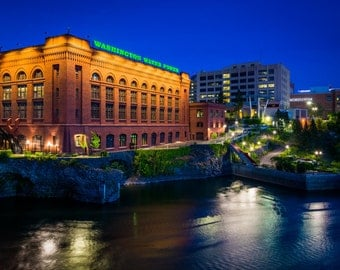 Buildings along the Spokane River at night, in Spokane, Washington. | Photo Print, Stretched Canvas, or Metal Print.