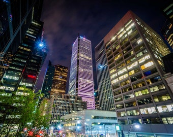Modern skyscrapers at night, in downtown Toronto, Ontario. | Photo Print, Stretched Canvas, or Metal Print.