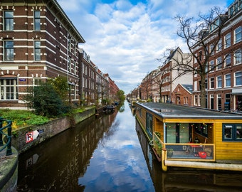 Houseboats in the Lijnbaansgracht canal, in Amsterdam, The Netherlands - Photography Fine Art Print or Wrapped Canvas