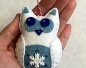 Felt Snowflake Owl Ornament