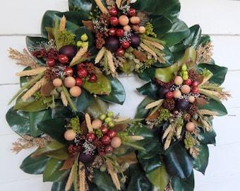 Fall Wreath  Autumn Wreath, Fall Front Door Wreath, Magnolia Wreath, Fall Decor, Designer Wreath, Country Wreath, Harvest Wreath
