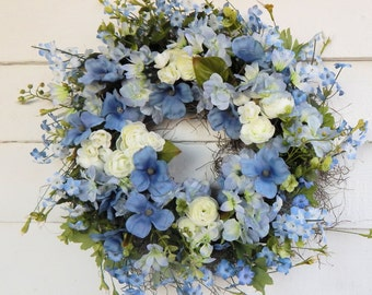 "Summer Wreath, Primitive Floral Front Door Wreath""Blue Sky""w/Forget-Me-Nots,Gift Wreath,Wedding Decor,Centerpiece,Door Wreath,Blue Wreath"