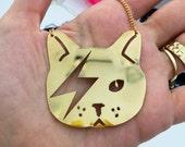 Women gold necklace, cat necklace