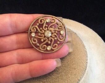 Vintage Rhinestone Swirl Pin