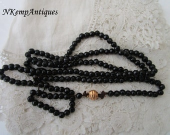 Antique french jet beads with real gold clasp
