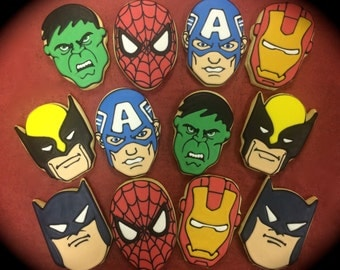 Super Hero Character Inspired Cookie Favors, delivery for Birthday parties, or any event, Superhero Gift Cookies, Avengers theme Cookies