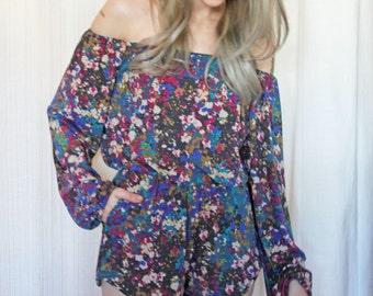 Off the Shoulder Romper with Pockets - Paint Splatters Print