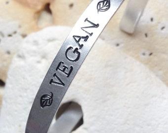 Vegan Mantra cuff bracelet - adjustable - handstamped