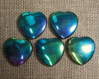 Iridescent Rainbow Hematite Flat Heart, 45 mm - Item 73015