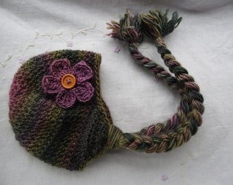 Variegated Baby Hat With Ear Flaps MADE TO ORDER