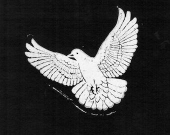 Peace Dove Lino Cut Print optional frame, gift, handmade, decoration