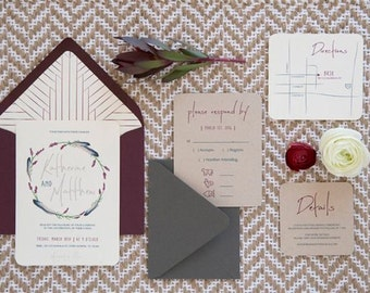 Boho Aztec Native American Wedding Invitation Set, with Invitations, RSVP and details cards, Printable Modern Wedding Invitations