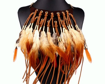 Real Feather tribal necklace