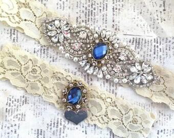 Navy Blue Garter Set, Vintage Garter Set - Blue Wedding Garter, Vintage Wedding Garter, Crystal Garter, Vintage Crystal Garter Set
