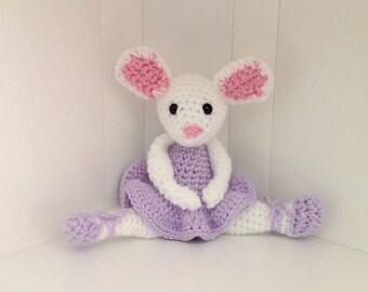 Little Crochet Ballet Mouse in Purple