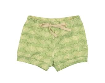 Baby Shorts, Toddler Shorts, Harem Shorts, Shorties, Bummies, Diaper Cover, Bloomers in Sage Green Print Girls