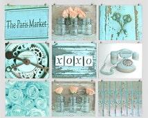Paris Market Gallery, Photo Set, Aqua Wall Art, Cottage Still Life Photography, Girls Room Decor, French Cottage Art, Shabby Romantic Prints