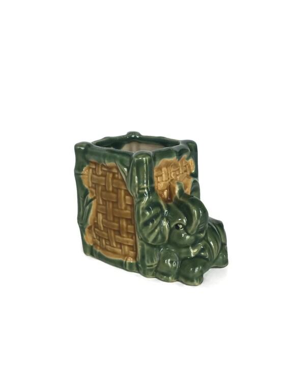 Vintage elephant planter unique bamboo texture ceramic nursery decor